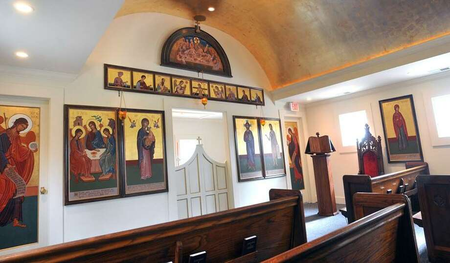 Orange-- The new St. Barbara's Greek Orthodox Church chapel is filled with furnishings and artwok from the Holy Trinity Church in Ansonia, which closed in 2009 . Photo by Peter Casolino/New Haven Register 10/14/12