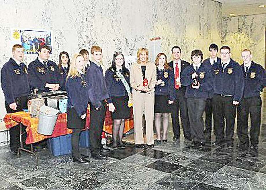 Photo Courtesy VVS FFA Members of the Vernon-Verona-Sherrill FFA visit with Assemblywoman Claudia Tenney, R-115, in Albany to discuss maple production.