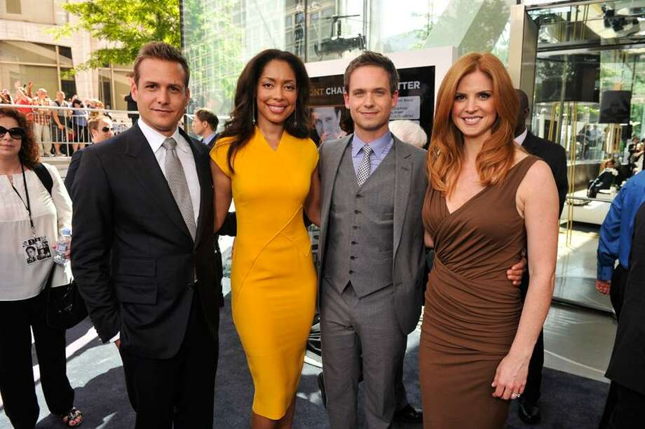 "USA Network photo: Sarah Gray Rafferty, right, with ""Suits"" stars Gabriel Macht, Gina Torres and Patrick J. Adams. Photo: Neilson Barnard/USA Network / © 2012 NBCUniversal, Inc."
