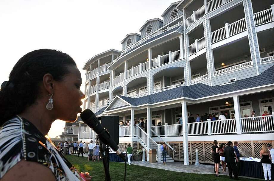 "Allyssa Jones of the group ""Metro"" performs during the Madison Beach Hotel Grand Opening gala.  Peter Casolino/New Haven Register"