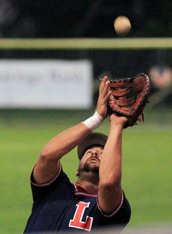 Litchfield's Karl Quist hammers out a single to load the bases in the Cowboys' win against Waterbury Sunday night. / 2012