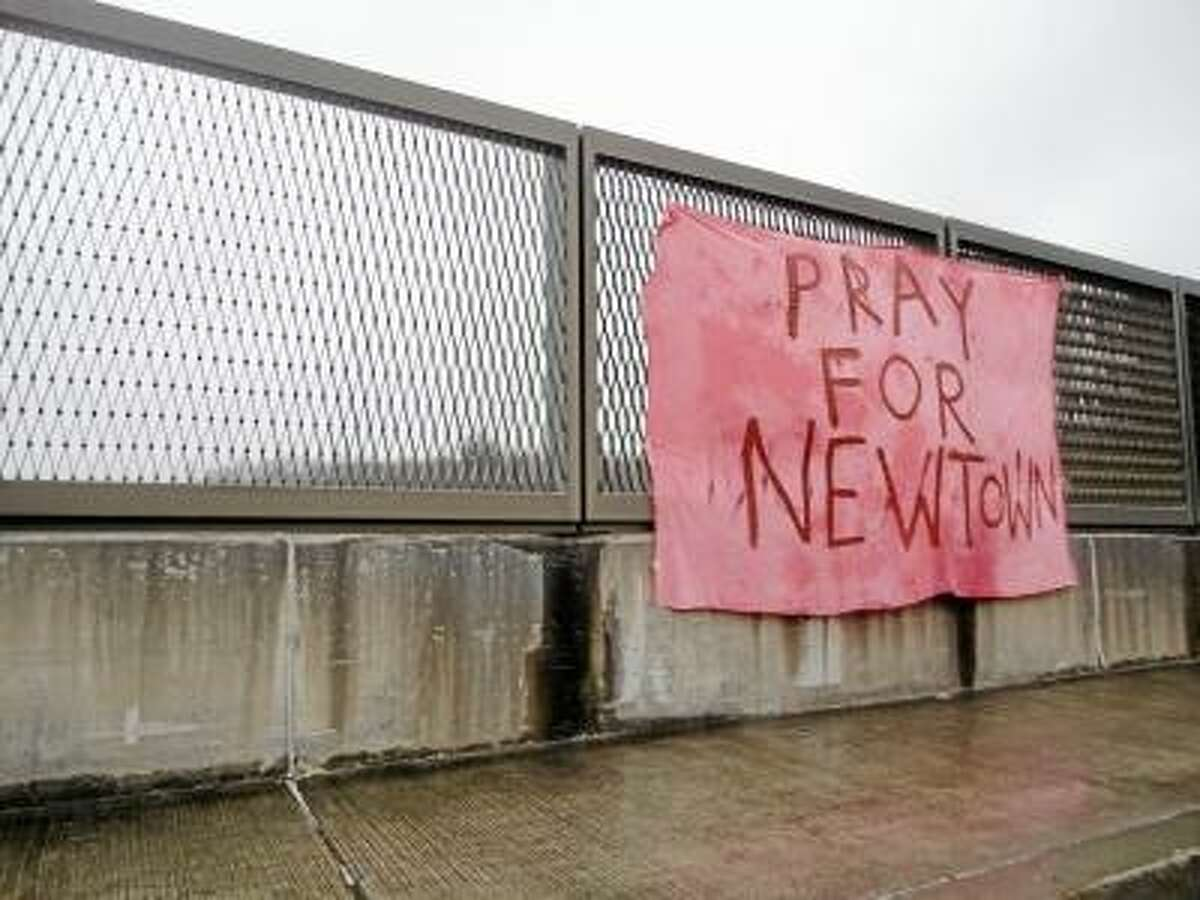 Photo by Jason Siedzik A banner showing support for Sandy Hook in Newtown.