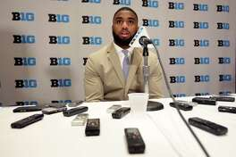 Ohio State NCAA college football linebacker Chris Worley speaks at Big Ten Media Day in Chicago, Monday, July 24, 2017. (AP Photo/G-Jun Yam)