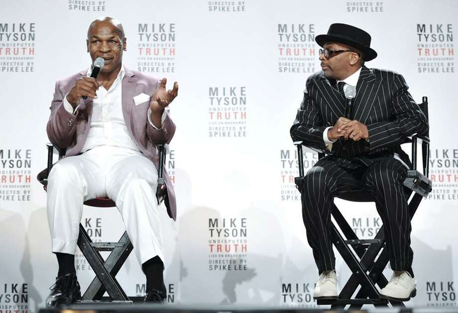 "Former heavyweight boxer Mike Tyson and director Spiken Lee announce ""Mike Tyson: Undisputed Truth"", a one man show on Broadway starring Mike Tyson, on Monday June 18, 2012 in New York. (Photo by Evan Agostini/Invision) Photo: EVAN AGOSTINI/INVISION/AP / 2012 Invision"
