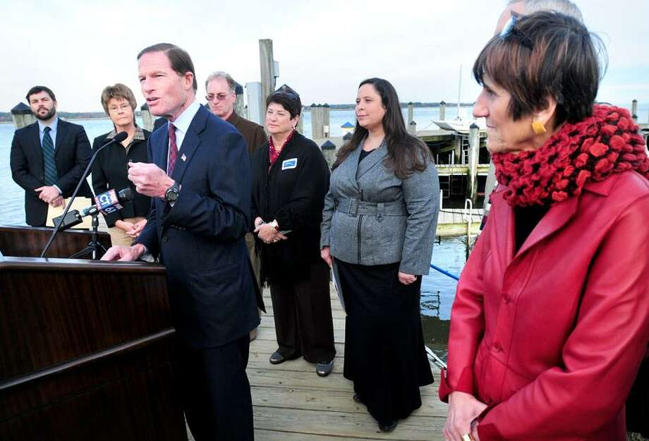 U.S. Senator Richard Blumenthal (left) speaks at a Save the Sound rally prior to a public hearing concerning the sale of Plum Island in Old Saybrook on 10/17/2012.Photo by Arnold Gold/New Haven Register    AG0467C
