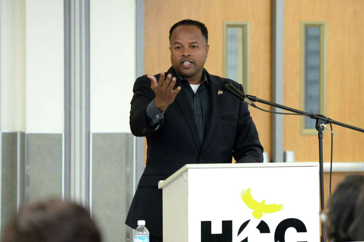 State Representative Ron Reynolds addresses participants during a panel discussion regarding single member districts for the Ft. Bend ISD Board of Trustees at the Houston Community College, Stafford, TX on June 22, 2017.