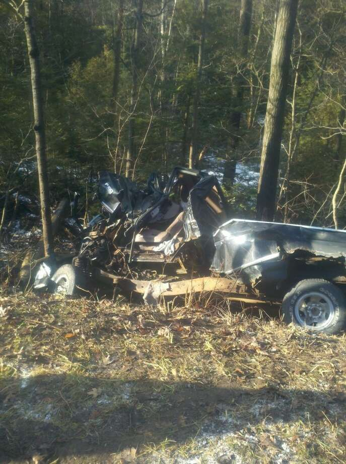 The pickup truck crashed into trees off Swamp Road in Eaton (Photo courtesy Madison County Sheriff's Department)