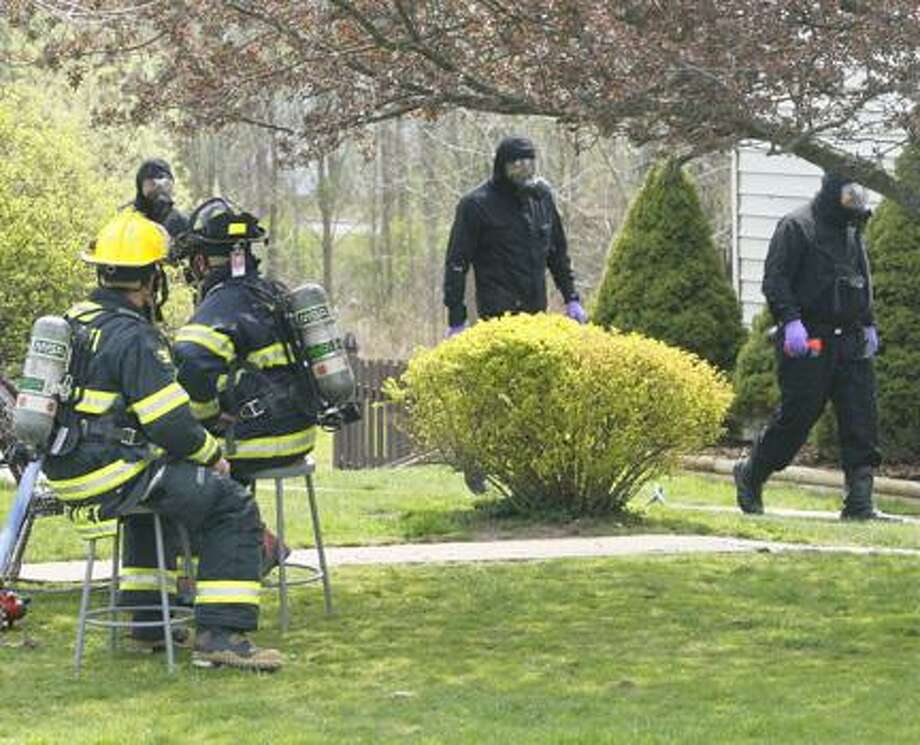 Dispatch Staff Photo by JOHN HAEGER (Twitter.com/OneidaPhoto)Canastota firefighters stand by as police officers investigate a meth lab on Pine Ridge Road near the intersection of North Main street on Thursday, April 19, 2012.