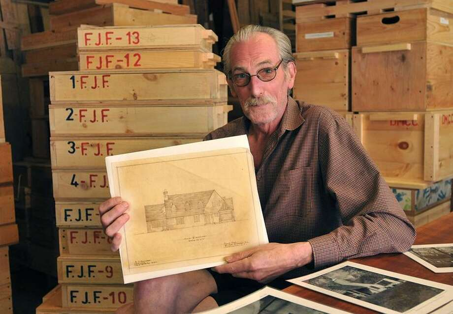 Clinton-- Antique building restoration expert Jeffrey Bradley has a large collection of architectural drawings and photographs by famed architect Frank Forster, which he wants the DEEP to allow to be displayed and stored at the house built by Forster in Chatfield Hollow State Park. Peter Casolino/New Haven Register 06/01/2012