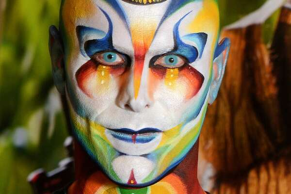 Results of the Cirque Du Soleil facepaint workshop given by Jinny of the company Mehron as part of  the World Bodypainting Festival 2017 on July 26, 2017 in Poertschach am Woerthersee, Austria.  (Photo by Didier Messens/Getty Images)