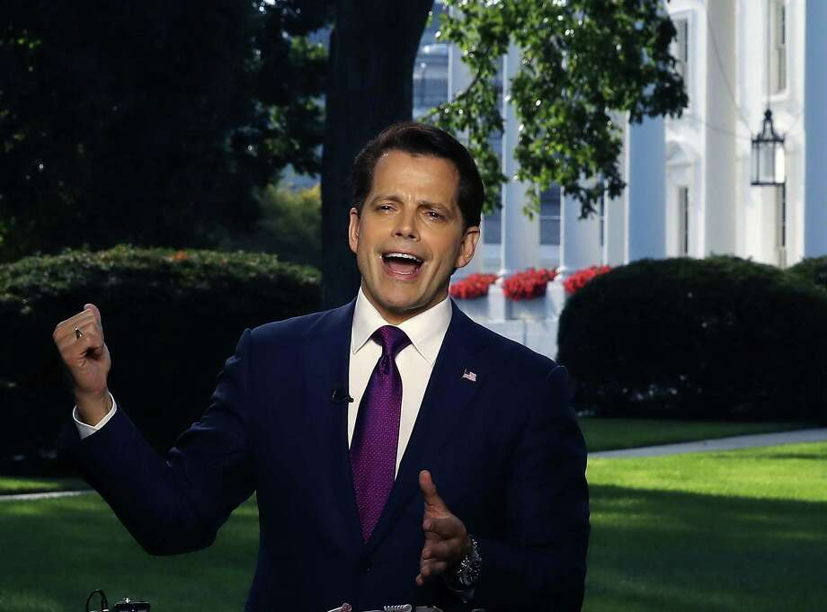 """Before his dismissal, White House Communications Director Anthony Scaramucci speaks on a morning television show from the White House. Following his profanity-laced rant against Reince Preibus, a reader predicts """"Saturday Night Live"""" will have a field day with Scaramucci. Photo: Mark Wilson /Getty Images / 2017 Getty Images"""