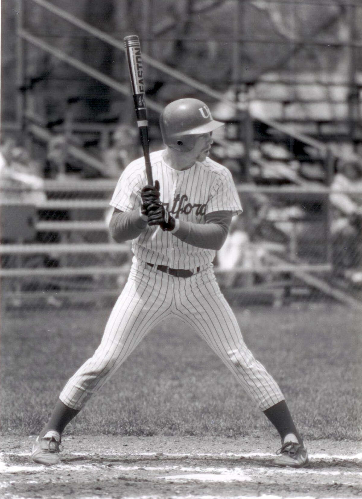 WEST HARTFORD, CT - CIRCA 1987: Jeff Bagwell #2 first baseman of the University of Hartford Hawks baseball team bats at Hartford Baseball Field in West Hartford, Connecticut. (Photo by Hartford/Collegiate Images/Getty Images)