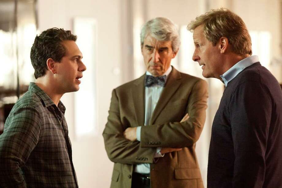 """HBO photo: Thomas Sadoski, left, Sam Waterston and Jeff Daniels in """"The Newsroom"""" at 10 p.m. June 24 on HBO."""
