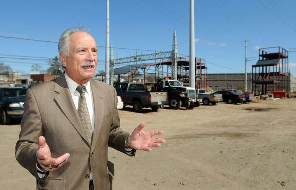 Michael Mercuriano, chairman of the West Haven Train Station Committee, on the construction of the new train station off of Sawmill Road in West Haven. Peter Hvizdak/Register