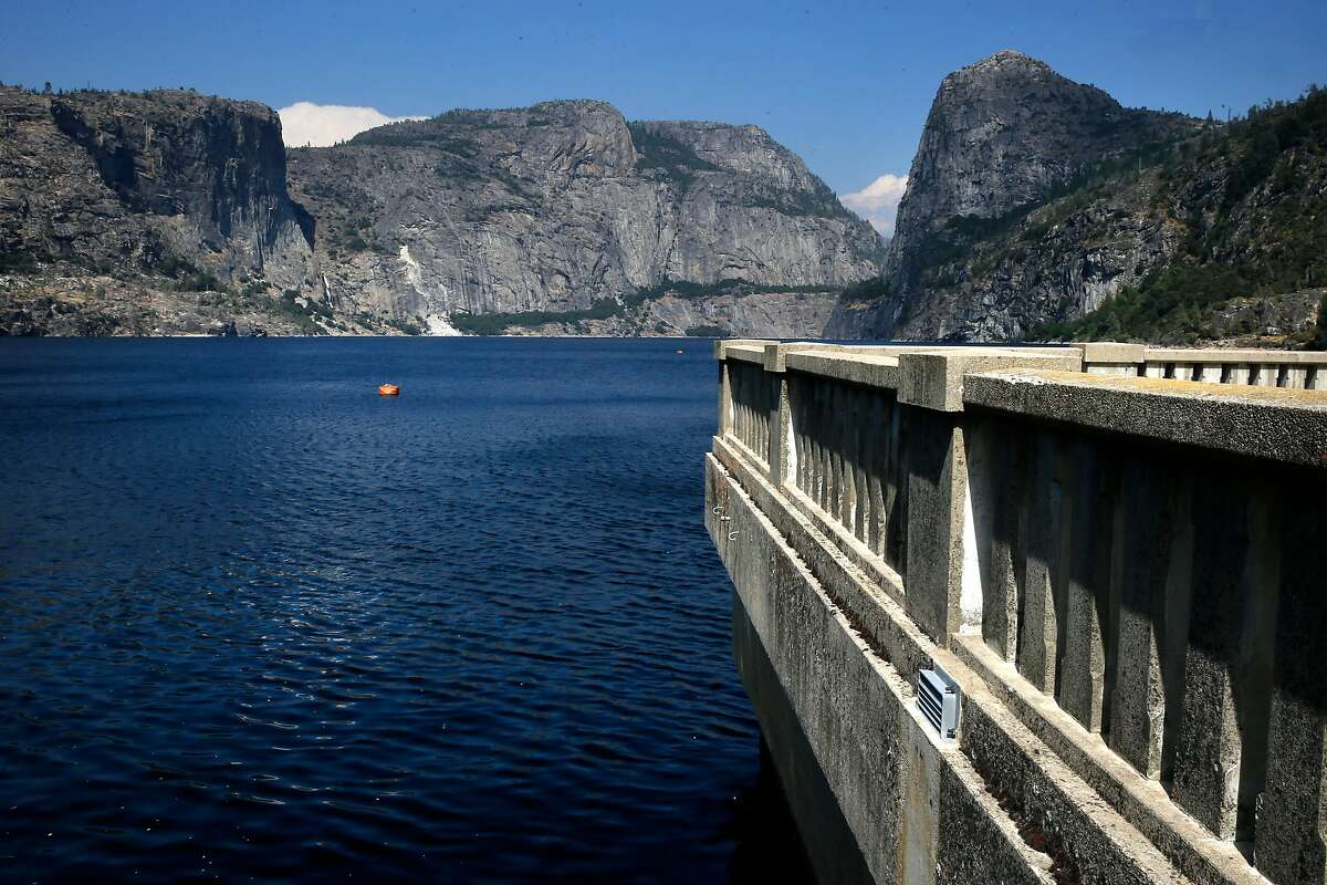 Looking out over Hetch Hetchy reservoir from the O'Shaughnessy Dam in Yosemite National Park, California, on Thurs. July 28, 2016. Mountain Tunnel, a key piece of the Hetch Hetchy water system is at risk of collapse, so this summer, the San Francisco Public Utilities Commission is preparing to repair the 19-mile-long tunnel just outside of Yosemite in a steep, hard-to-access wilderness area.