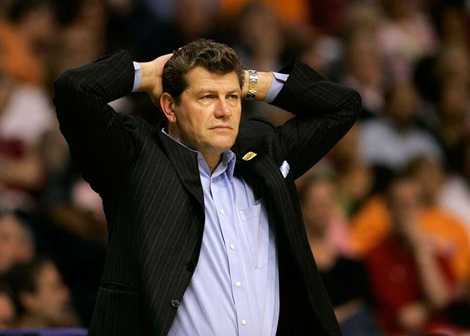 Connecticut coach Geno Auriemma watches his team lose to Stanford in an NCAA Women's Final Four basketball game Sunday, April 6, 2008,  in Tampa, Fla. (AP Photo/Amy Sancetta) Photo: AP / AP2008