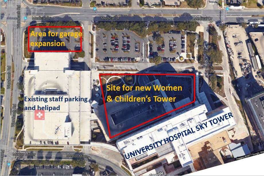 A site plan and aerial photo showing where the new  new Womens and Children hospital tower at UHS would be located. Photo: Donald Finley