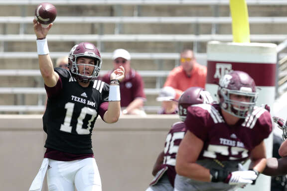 Texas A&M quarterback Jake Hubenak (10) throws a pass during the Texas A&M spring football game at Kyle Field on Saturday, April 8, 2017, in College Station. ( Brett Coomer / Houston Chronicle )