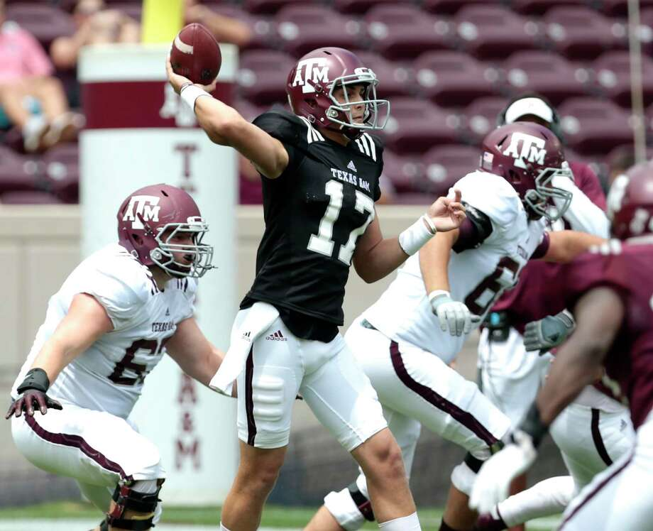 Nick Starkell (17) is expected to start at quarterback for Texas A&M in its season opener against UCLA on Sunday night. Photo: Brett Coomer, Staff / © 2017 Houston Chronicle