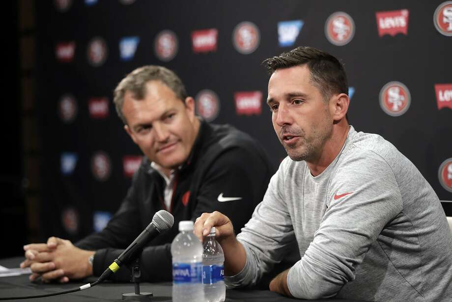 San Francisco 49ers head coach Kyle Shanahan, right, and general manager John Lynch field questions during the NFL team's football training camp Thursday, July 27, 2017, in Santa Clara, Calif. (AP Photo/Marcio Jose Sanchez) Photo: Marcio Jose Sanchez, Associated Press