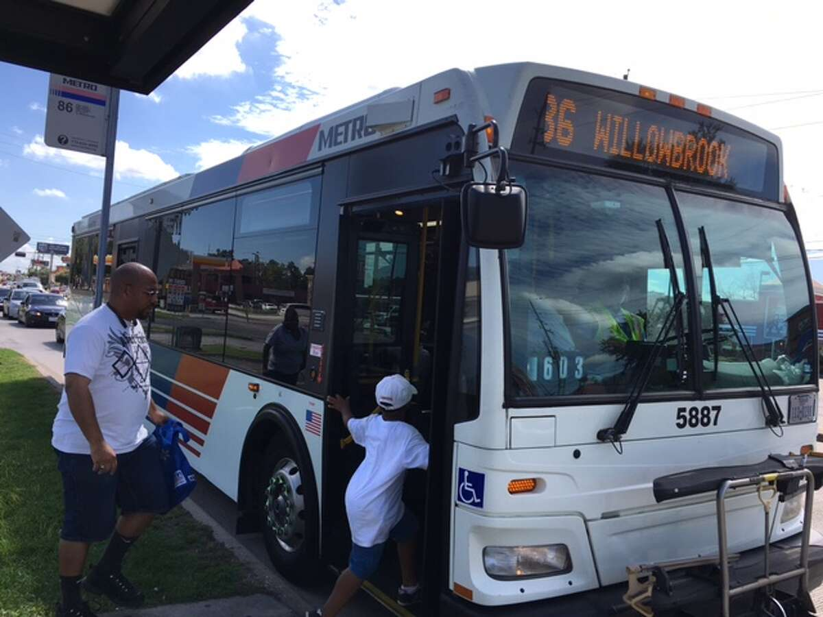 Passengers board the 86-FM 1960 bus in northwest Harris County.