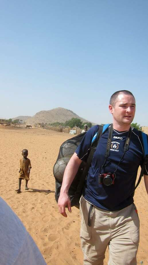Seymour's Brian Cleveland's passion for coaching soccer brought him to Eastern Chad to work with refugees competing for spots on a Darfuri team. (Contributed photo).