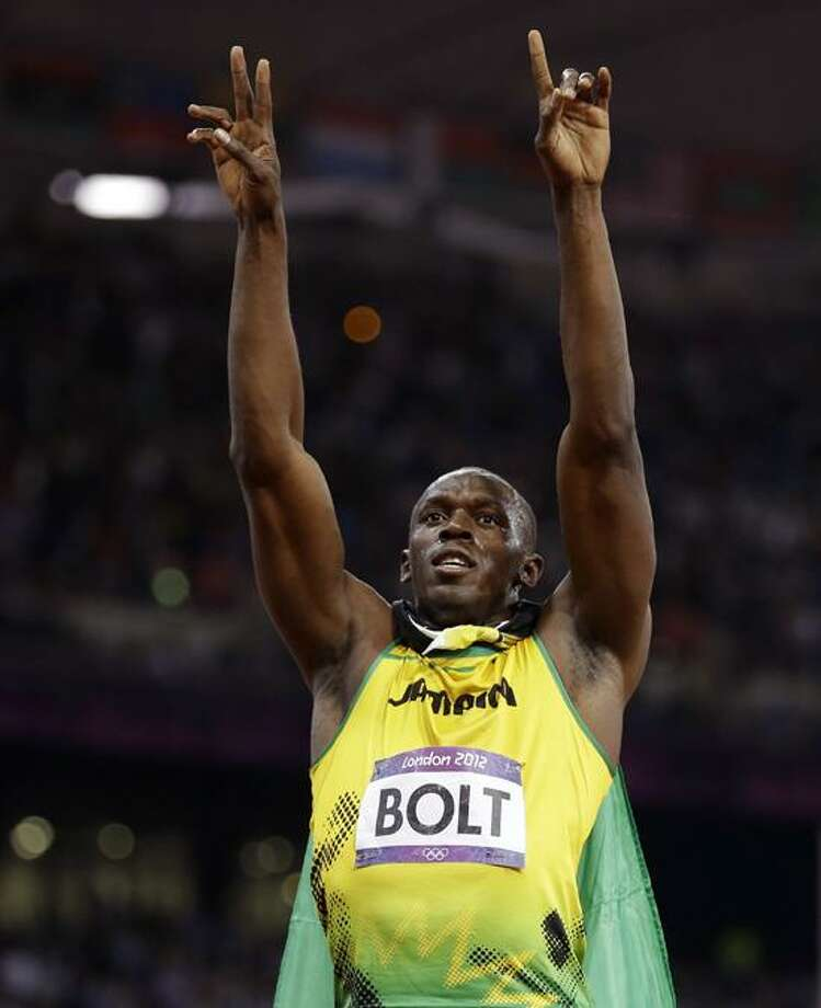 Jamaica's Usain Bolt reacts to his win in the men's 100-meter final during the athletics in the Olympic Stadium at the 2012 Summer Olympics, London, Sunday, Aug. 5, 2012.(AP Photo/Anja Niedringhaus) Photo: AP / AP2012