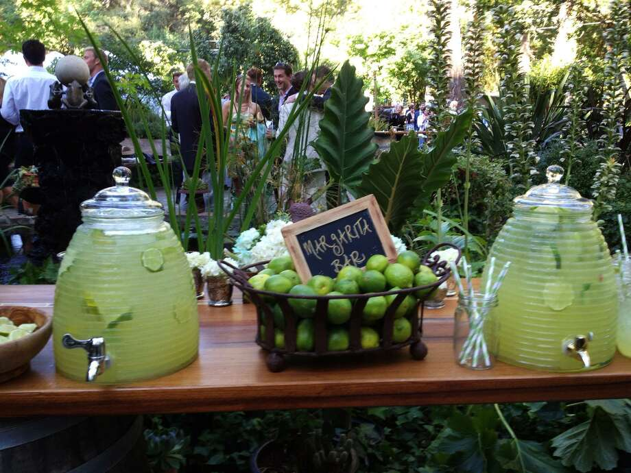 This Sept. 1, 2012 photo provided by Brittell Public Relations shows a table displaying a Margarita Bar for guests at the wedding of Elana Kopstein and Patrick Free held at a private estate in Sonoma, Calif.  (AP Photo/Brittell Public Relations, Mary Ellen Murphy) Photo: AP / Brittell Public Relations