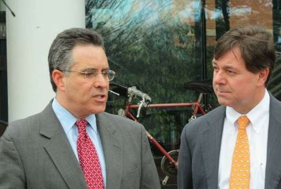 Contributed. Sam Caligiuri and 5th District candidate Andrew Roraback stand on the steps of the Cheshire Town Hall Tuesday. Caligiuri announced his support for Roraback and his campaign for the seat in 2012.