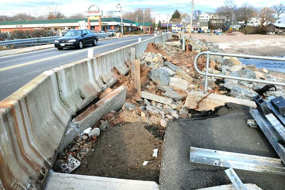 The Connecticut Department of Transportation announced that work has begun on a bridge over the Oyster River on New Haven Ave. separating West Haven from Milford that was damaged by Superstorm Sandy. Photo by Arnold Gold/New Haven Register