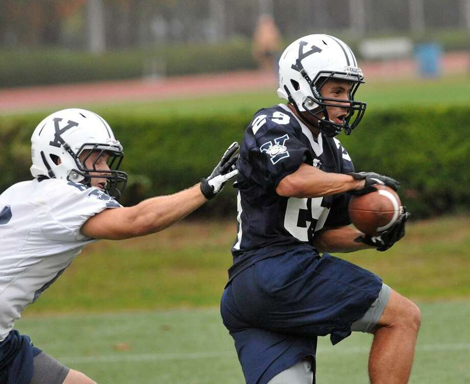 New Haven-- Yale wide receiver Grant Wallace during practice Thursday. Photo Peter Casolino/New Haven Register 10/4/12