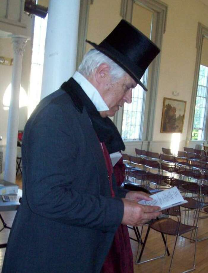 Photo Courtesy PETERBORO MUSEUM Dick Enders aka Gerrit Smith prepares his notes for his farewell at (11:30 Saturday, June 9, 2012) to the 157th NY Volunteers who left for 150 years from the Peterboro Green.