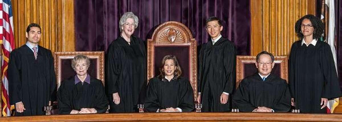 The California Supreme Court justices, left to right, Mariano-Florentino Cuellar, Kathryn M. Werdegar, Carol A. Corrigan, Tani Cantil-Sakauye (chief justice), Goodwin H. Liu, Ming W. Chin, Leondra Kruger.