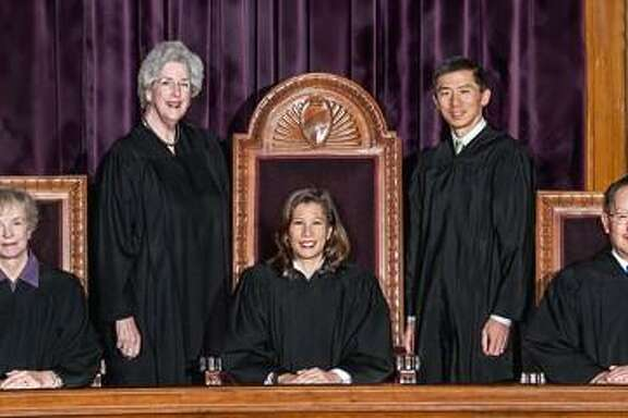 The California Supreme Court justices, left to right, Mariano-Florentino Cuellar, Kathryn M. Werdegar, Carol A. Corrigan, Tani Cantil-Sakauye (chief justice), Goodwin H. Liu, Ming W. Chin, Leondra Kruger.