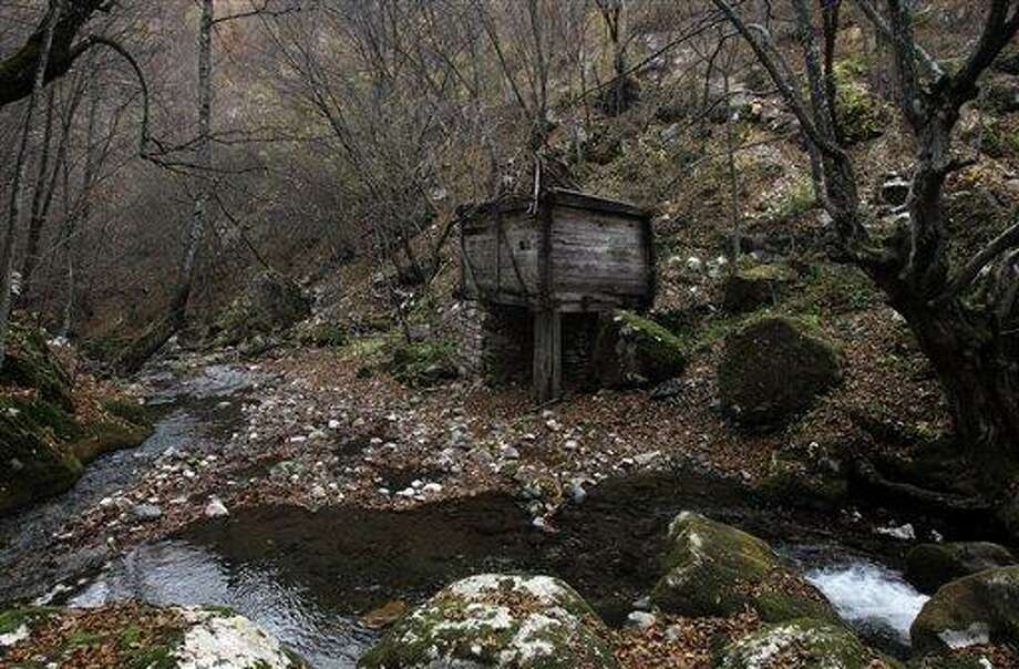"In this Nov. 30, 2012 photo is an old watermill located on the Rogacica river, believed to have been Sava Savanovic's home,  in the village of Zarozje, near the Serbian town of Bajina Basta. Get your garlic, wooden crosses and stakes ready: a bloodsucking vampire is on the loose.  Or so say villagers in the tiny western Serbian hamlet of Zarozje, nestled between the lush green mountain slopes and spooky thick forests. Rumors that a legendary vampire ghost has returned are spreading panic throughout the town. An official warning telling villagers to put garlic in their pockets and place wooden crosses in each of their rooms, the tools that should keep away the vampires  did nothing but fuel the fear.  ""The story of Sava Savanovic is a legend, but strange things did occur in these parts back in the old days,"" said 55-year-old housewife Milka Prokic, holding a string of onions in one hand and a large wooden stake in another.  ""The story goes that back in the old days, vampires would roam around and show themselves in different forms, as a butterfly, or as a hay stack, they would change form,"" she said as mist settled on the pristine valley and the full moon appeared in the sky. (AP Photo/Darko Vojinovic) Photo: AP / AP"