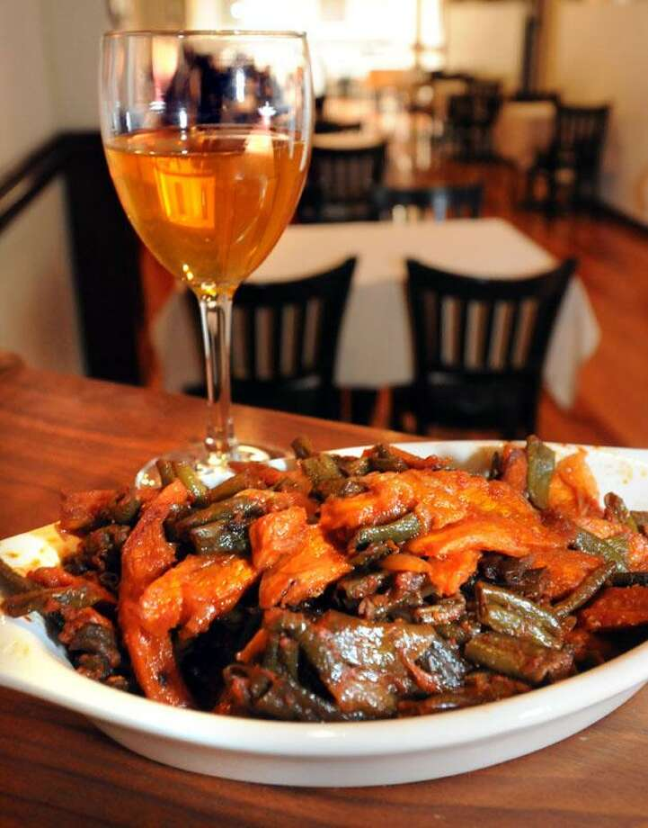 Fosolia: green beans, carrots, onions sauteed in herbs at Lalibela. Mara Lavitt/New Haven Register