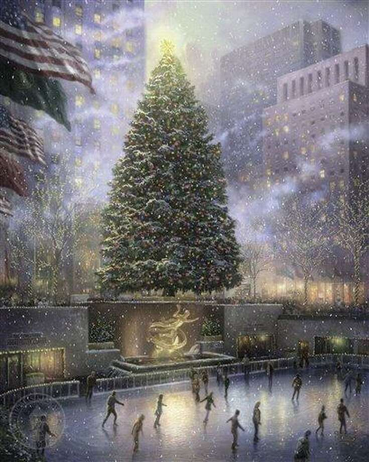 """This undated photo provided by The Thomas Kinkade Company via PR Newswire shows """"Christmas in New York"""" by Thomas Kinkade. Kinkade, whose brushwork paintings of idyllic landscapes, cottages and churches have been big sellers for dealers across the United States, died Friday, April 6, 2012, a family spokesman said. (AP Photo/PR Newswire, The Thomas Kinkade Company) Photo: AP / AP2008"""