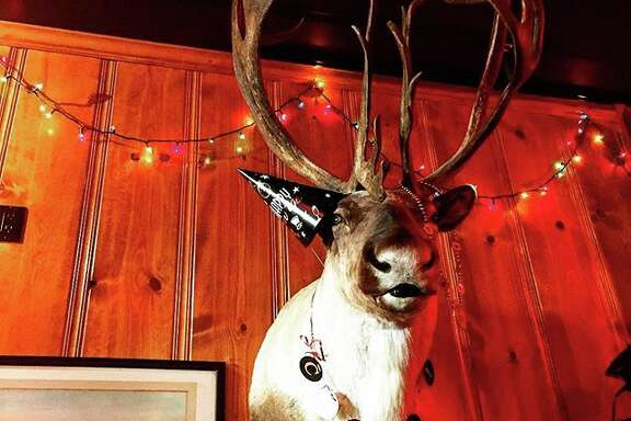 The new caribou on the wall at The Riptide bar in San Francisco: Bou 2.0.