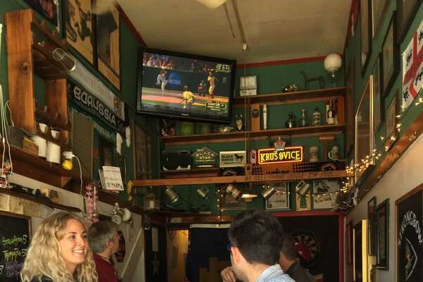 Black Horse London Pub It doesn't quite belong to one neighborhood - it straddles the Marina and Russian Hill. But you can't get much more neighborhoody than a 19-by-7-foot bar that feels cramped with more than 10 people in here. What this bar does make room for, however, is an ice-filled claw-foot tub that serves bottled beer. What makes the Black Horse special: With a whopping eight seats, it may be the smallest bar in San Francisco. Also, in diametric contrast to everything else in the city, cell phone use is banned here to encourage people to actually talk to each other, even if that means meeting someone new. This being a British pub there's a dartboard, but there's absolutely no room to throw it without mutilating someone. What to drink at the Black Horse: Whatever beer owner James King happens to put in that tub.