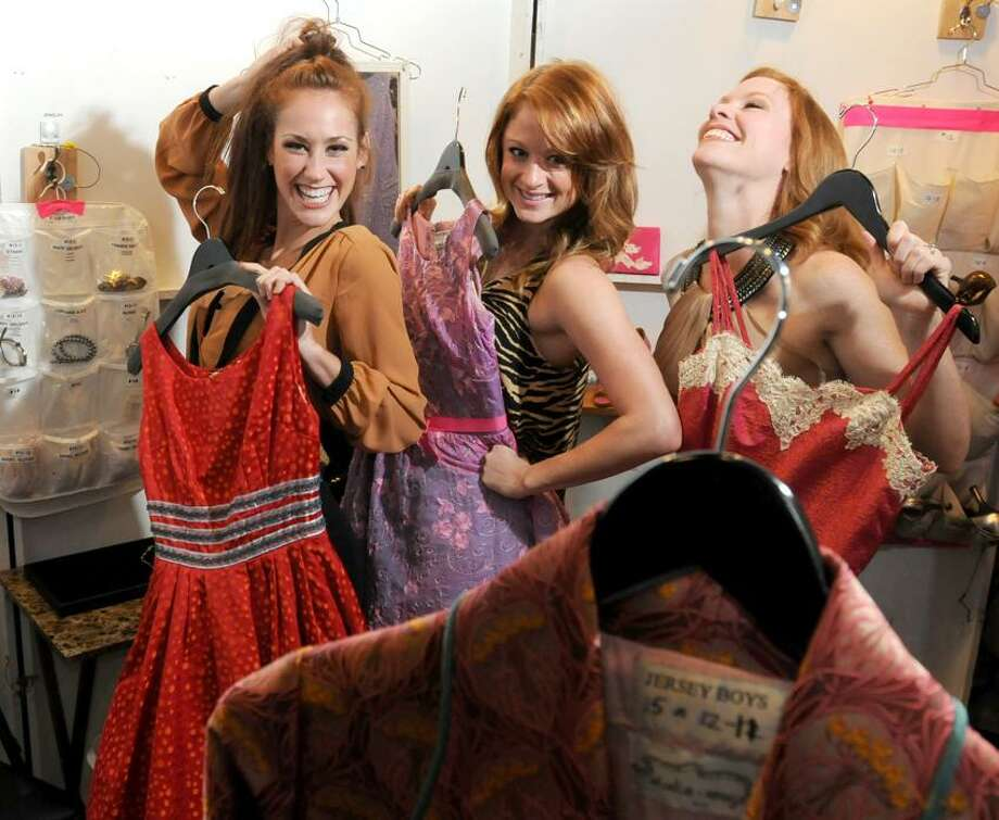 """Actresses Kaleigh Cronin, Rachel Schur, Michelle Pruiett, starring in the """"Jersey Boys""""  musical at the Shubert theatre in New Haven, Conn., in one of their off stage dressing rooms. The three women play approximately 30 different roles in the show.  - Friday, September 28, 2012.  Photo by Peter Hvizdak / New Haven Register Photo: New Haven Register / ©Peter Hvizdak /  New Haven Register"""