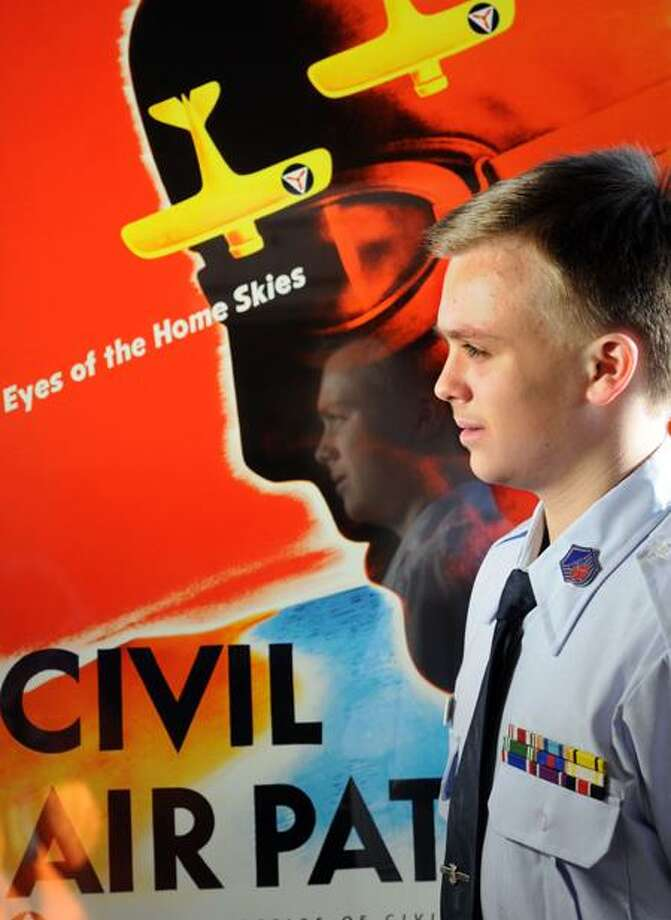 Alec Albright of Milford is trying to get support for a House bill awarding the Congressional Gold Medal to WWII Civil Air Patrol veterans. Alec is a member of CAP. Mara Lavitt/Register