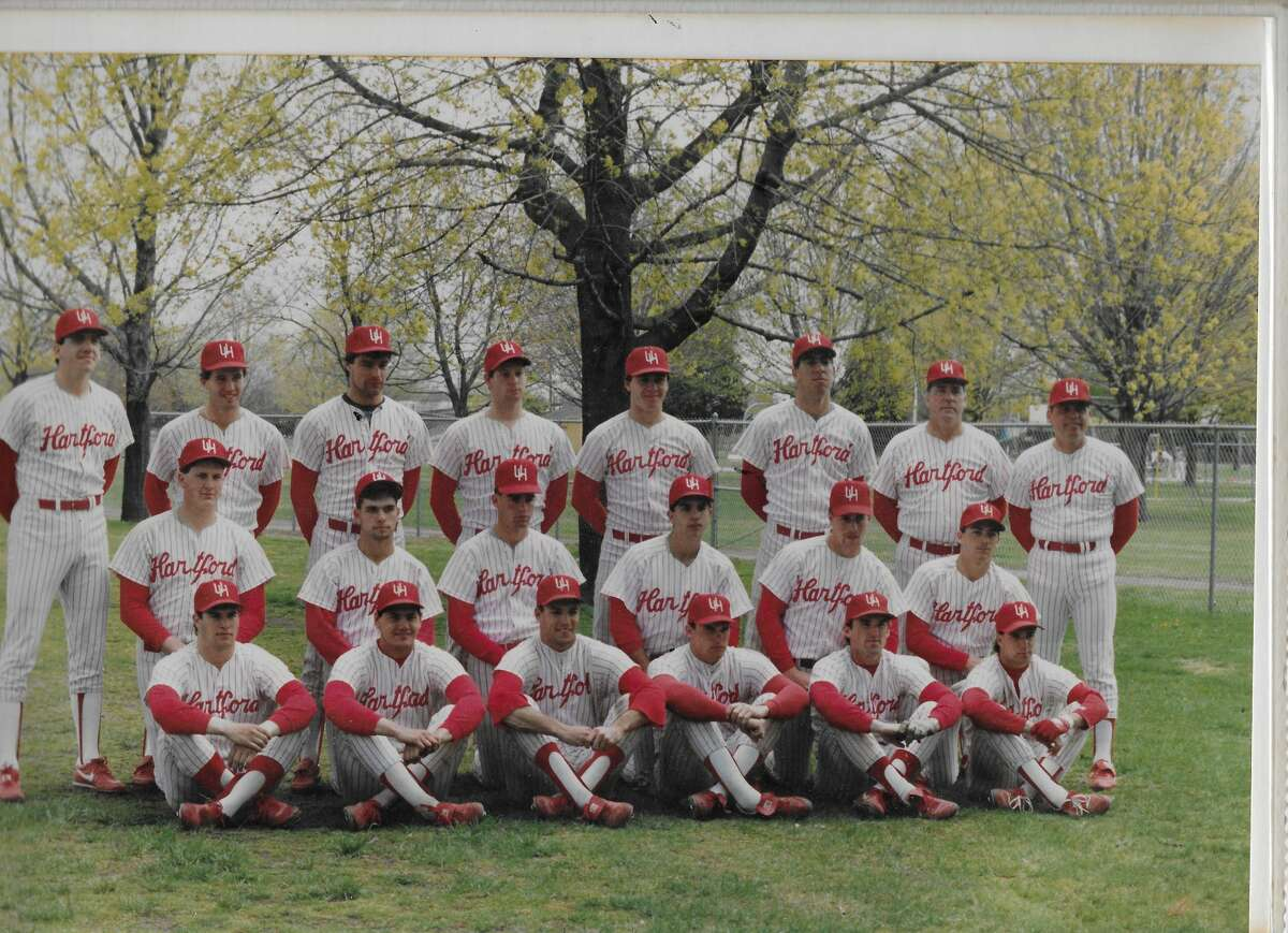 Jeff Bagwell can be found in the middle row, second from right, in this University of Hartford team photo.