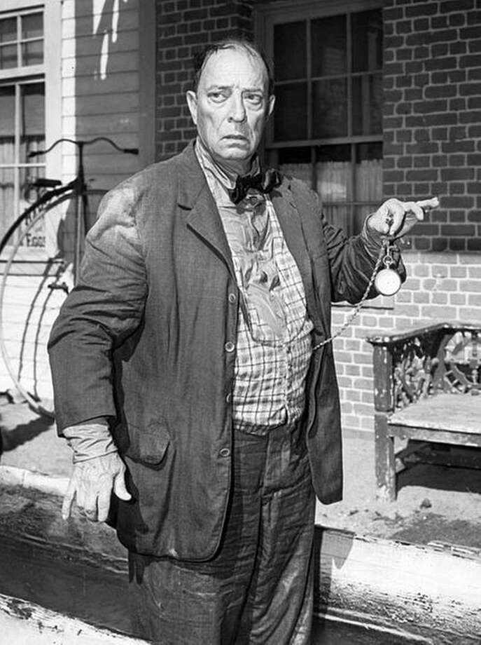 "Photo of Buster Keaton from the television program The Twilight Zone. In this episode, ""Once Upon a Time"", Keaton played a man who was able to travel back and forth in time with a magical helmet. Keaton performed some of his scenes for the episode as a silent performer, as in his old film days. (1961)"