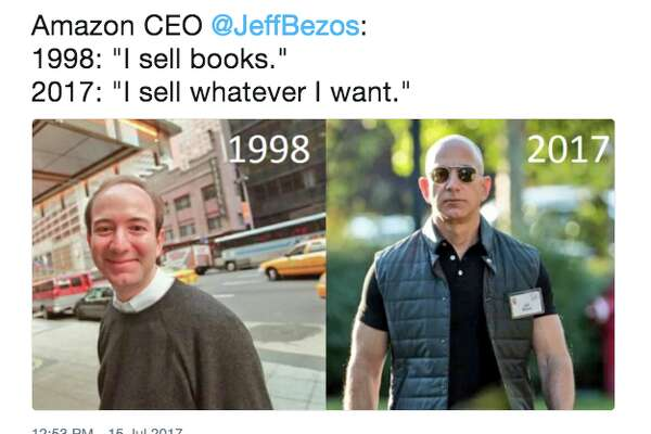 Jeff Bezos became a meme this week after photos of the muscled Amazon CEO, accompanied by those from 20 years ago, began making the rounds.