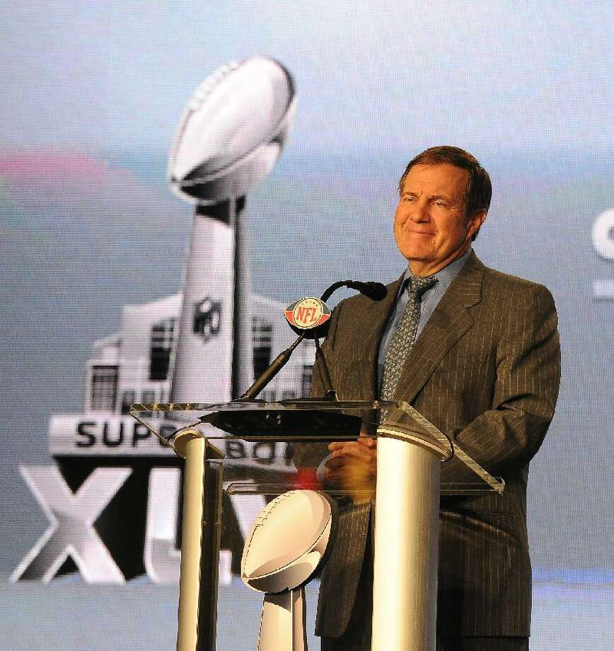 ASSOCIATED PRESS New England Patriots head coach Bill Belichick is shown during a Super Bowl XLVI press conference on Wednesday in Indianapolis. The New England Patriots will play the New York Giants in Super Bowl XLVI in Indianapolis Sunday.