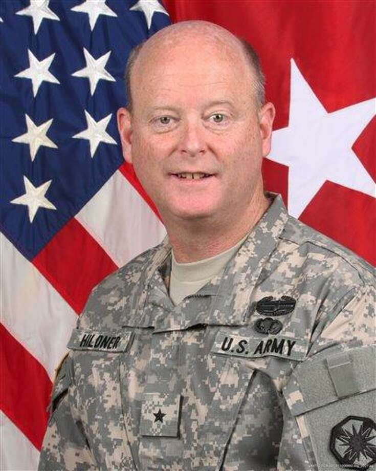 This undated photo provided by the U.S. Army shows Brig. Gen. Terence Hildner. The U.S. Army says Hildner, 49, died Friday, Feb. 3, 2012, in Kabul, Afghanistan, of apparent natural causes. Hildner has commanded the 13th Expeditionary Sustainment Command at Fort Hood, Texas, since August 2010. The Army says he left for Afghanistan in December to support the NATO mission there. He served in Iraq during both Operation Desert Storm and the 2003 U.S.-led war. He also served in Kuwait and was part of the last U.S. patrol along the East-West German border before its reunification. Hildner was born in New Haven, Conn., and listed Fairfax, Va., as his official home. He graduated from the University of Notre Dame in 1984. (AP Photo/U.S. Army) Photo: AP / U.S. Army