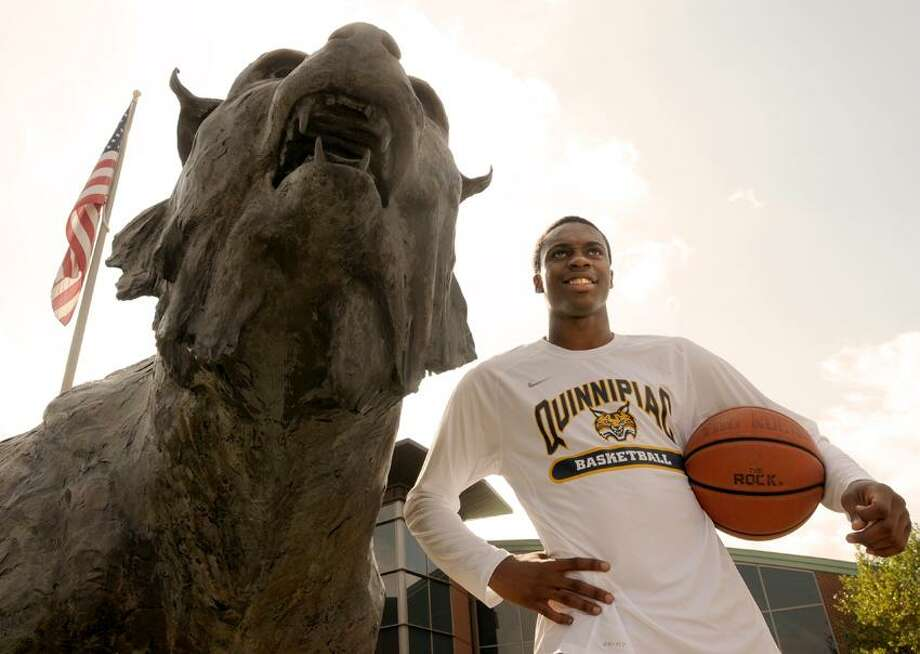 Quinnipiac University freshman basketball player Kendrick Ray with bobcat ascot in front of the Quinnipiac athletic center. (Photo by Peter Hvizdak/New Haven Register) Photo: New Haven Register / ©Peter Hvizdak /  New Haven Register