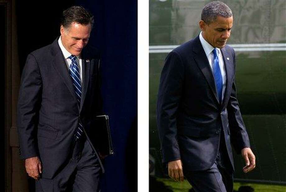 Republican presidential candidate Mitt Romney, left, and President Barack Obama will debate Wednesday for the first time. AP Photos Photo: AP / ap