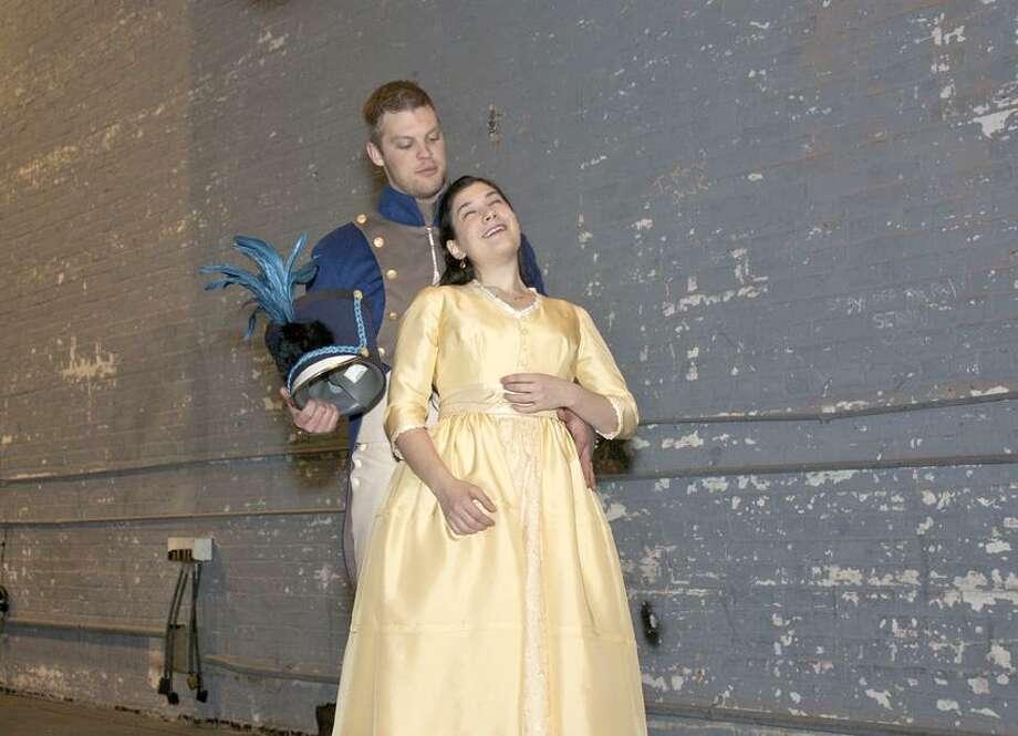 "Dana Astmann photo: Yale Opera singers Cameron McPhail (Guglielmo) and Annie Rosen (Dorabella) rehearse for ""Cosi fan tutte."""