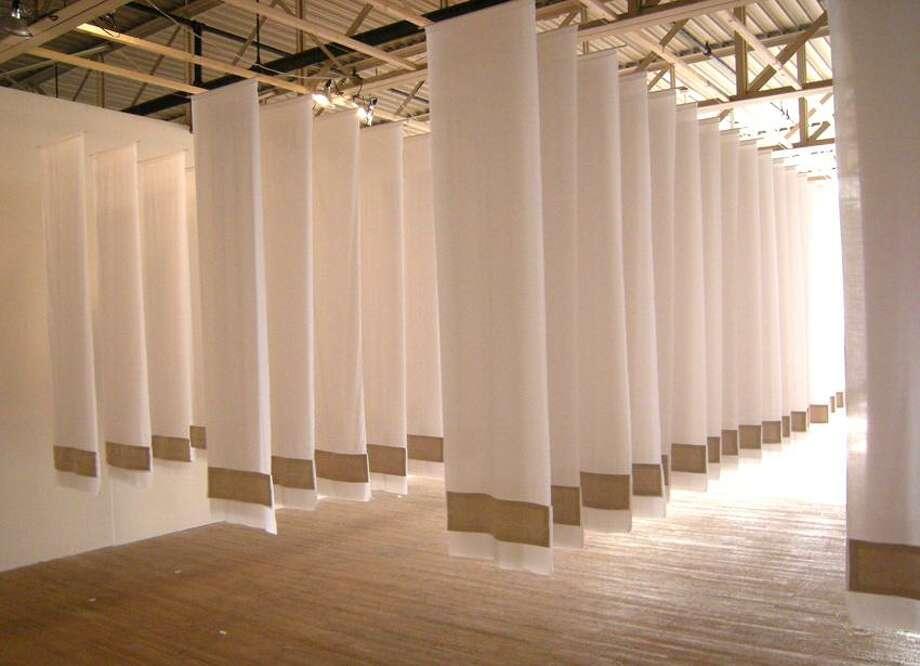 "Stephen Kobasa photo: Artist Cate Bourke's installations ""Crewel Linen: Unfinished Business"""